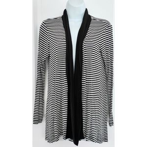 Bobeau Black White Stripe Open Front Cardigan